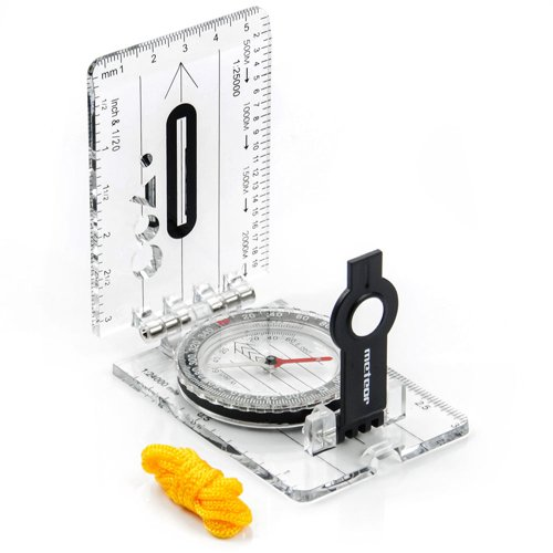 FOLDING COMPASS METEOR WITH RULER AND MAGNIFYING GLASS
